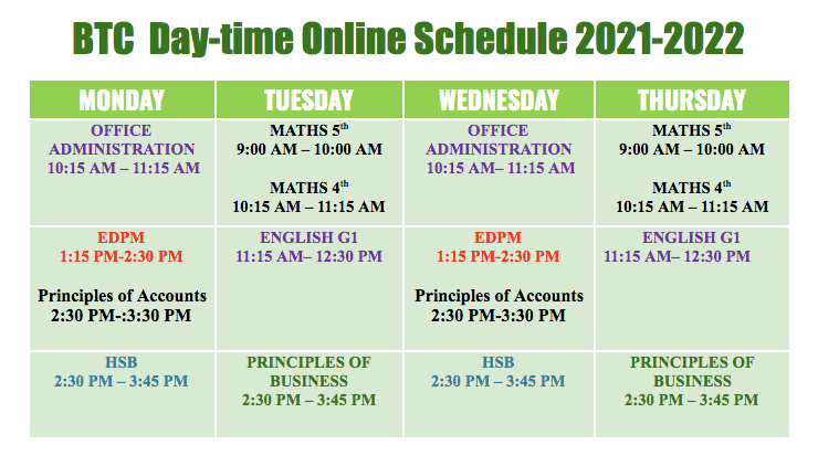 Day- Time Online Schedule