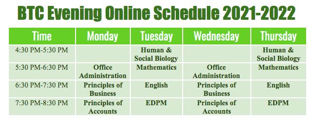 Evening Online Schedule